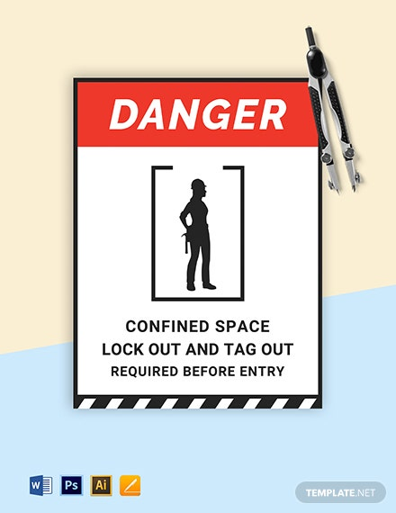 Danger Confined Space/Keep Locked Stanchion Sign Template