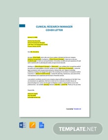 Free Clinical Research Manager Cover Letter Template