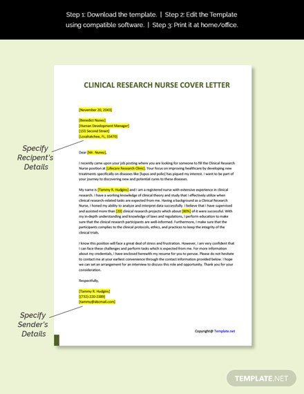 Clinical Research Nurse Cover Letter Template