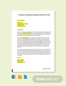 Free Clinical Research Nurse Cover Letter Template