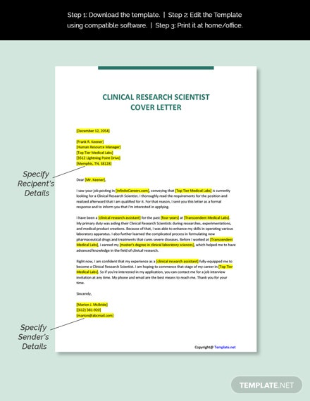Clinical Research Scientist Cover Letter Template