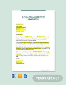 Free Clinical Research Scientist Cover Letter Template