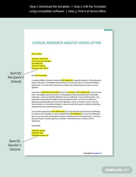Clinical Research Analyst Cover Letter Template