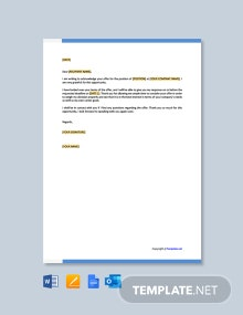 Free Job Acknowledgement Letter Template