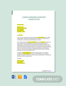 Free Clinical Research Assistant Cover Letter Template