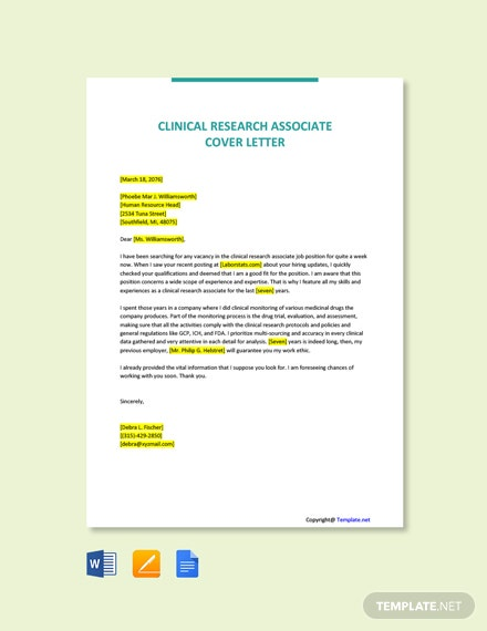 Free Clinical Research Associate Cover Letter Template