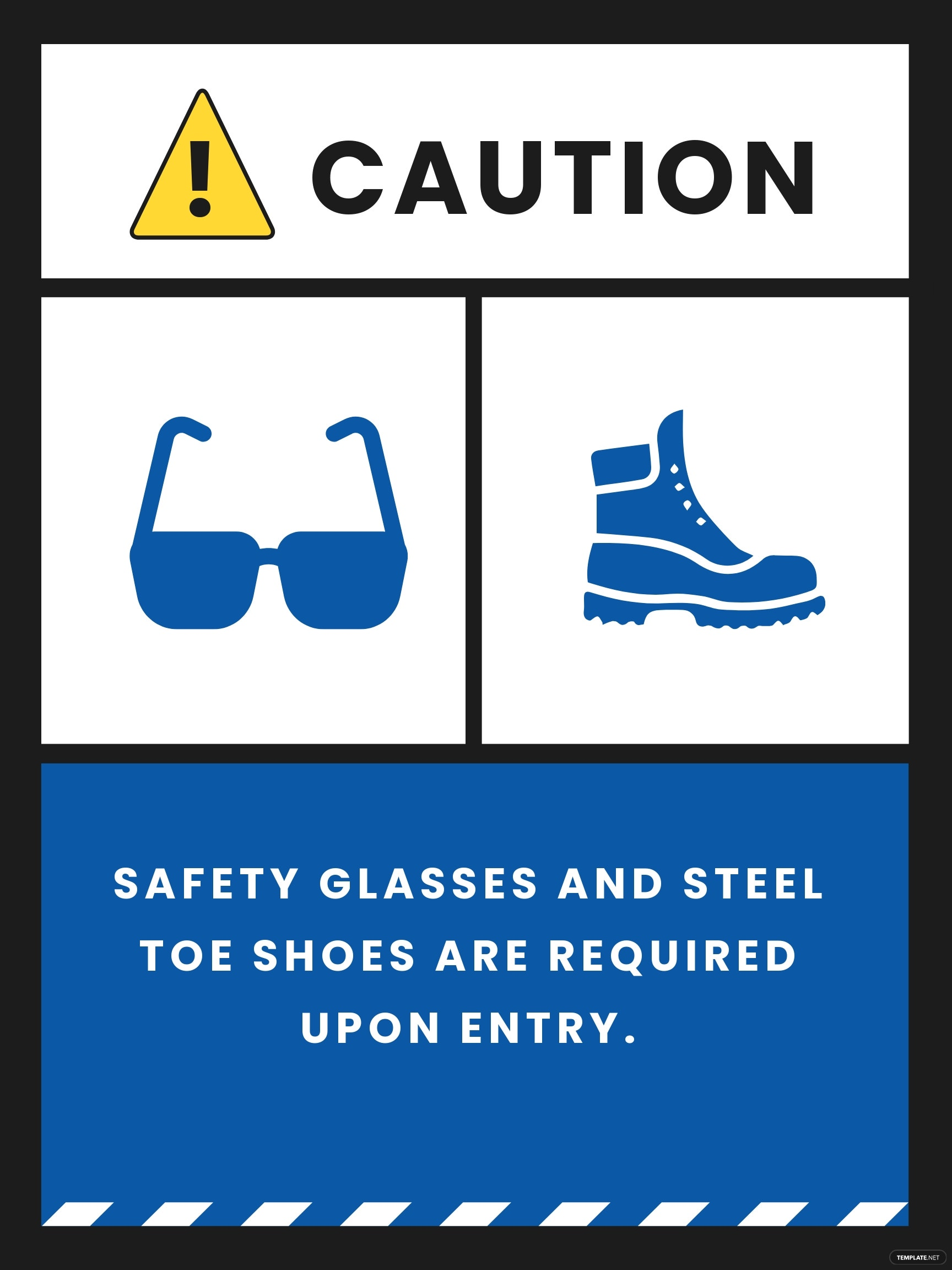 Safety Glasses and Shoes Required Sign Template