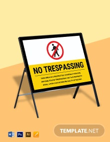 Construction Area No Trespassing Sign Template
