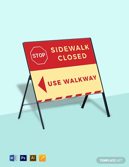 Stop - Sidewalk Closed Sign Template