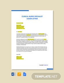 Free Clinical Nurse Specialist Cover Letter Template
