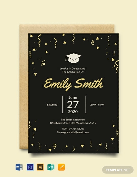 Free Graduation Invitation Template Word Psd Indesign