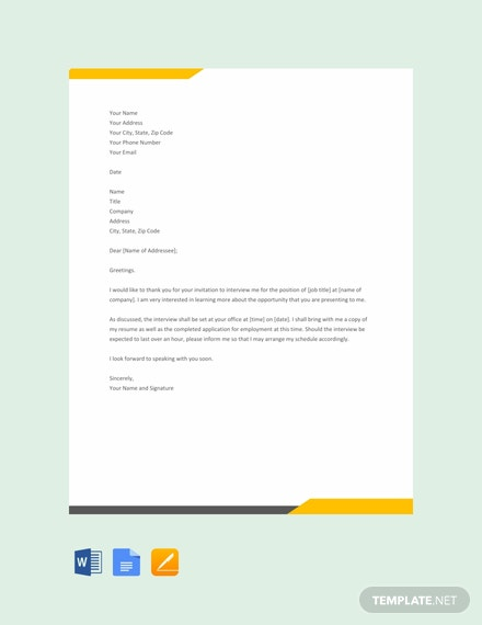 Free Interview Acknowledgement Letter Template
