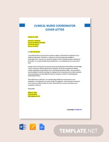 Free Clinical Nurse Coordinator Cover Letter Template