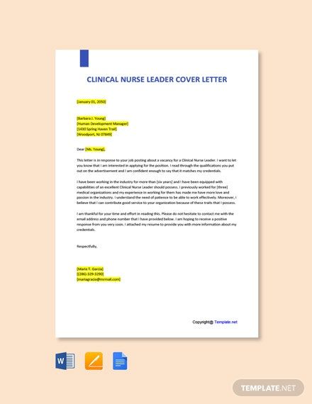 Free Clinical Nurse Leader Cover Letter Template