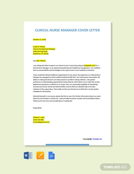 Free Clinical Nurse Manager Cover Letter Template