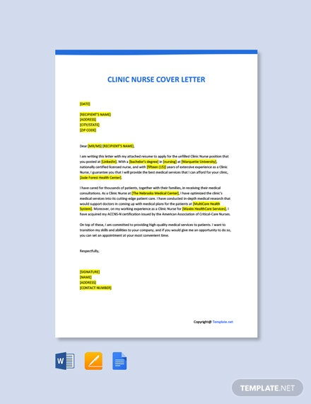 Free Clinic Nurse Cover Letter Template