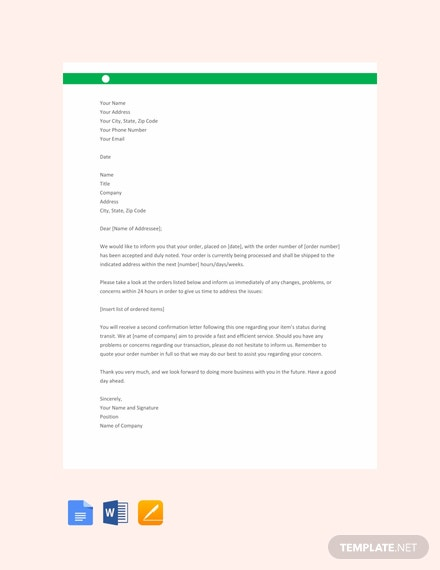 Free Order Acknowledgement Letter Template