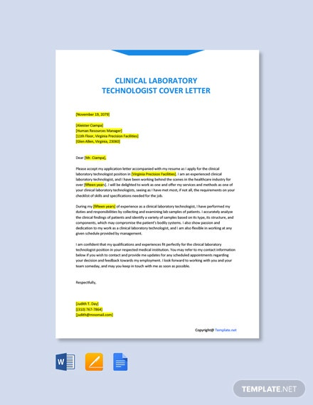 Free Clinical Laboratory Technologist Cover Letter Template
