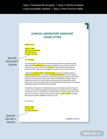 Clinical Laboratory Assistant Cover Letter Template