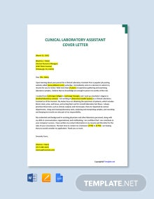Free Clinical Laboratory Assistant Cover Letter Template