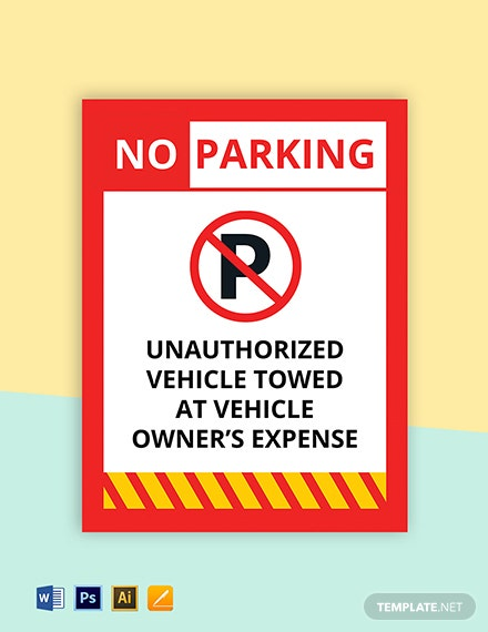 Construction Site Parking Sign Template