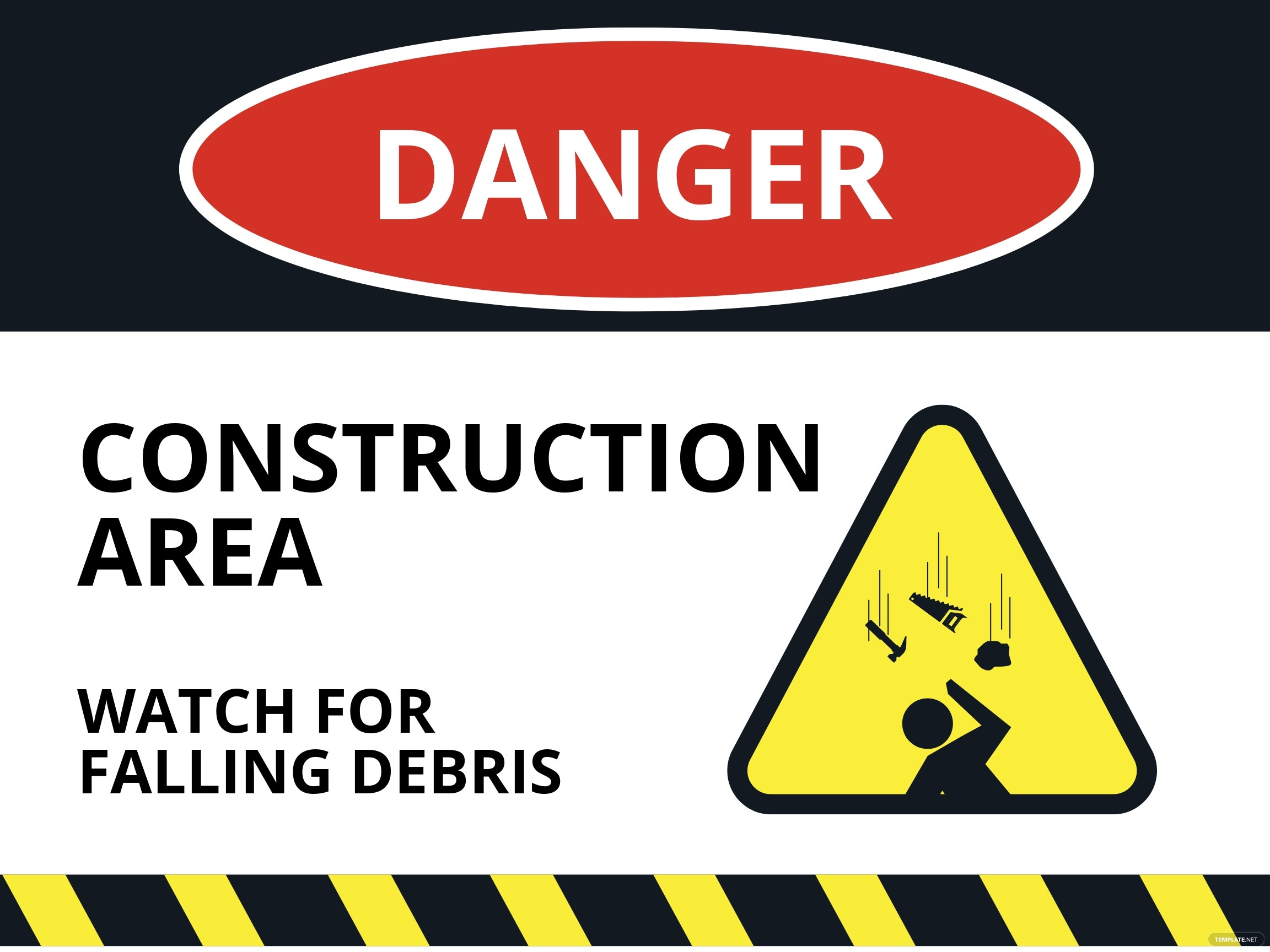 Danger - Falling Material Sign Template