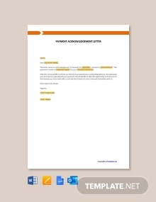 Free Payment Acknowledgement Letter Template