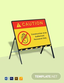 Caution - Construction Area Authorized Personnel Only Sign Template