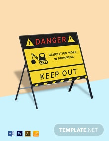 Demolition Work in Progress Keep Out  Sign Template