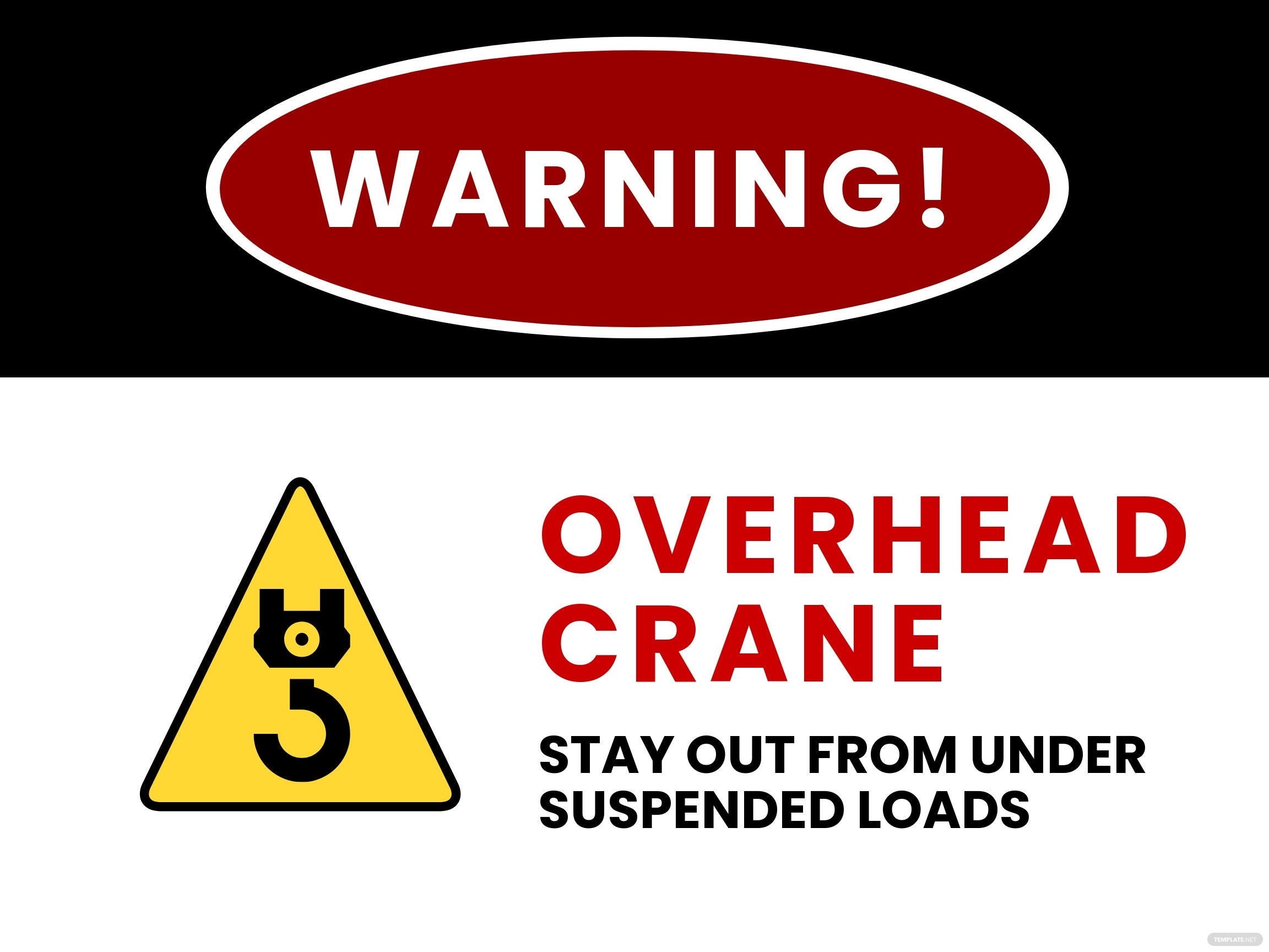 Danger - Crane Overhead Sign Template