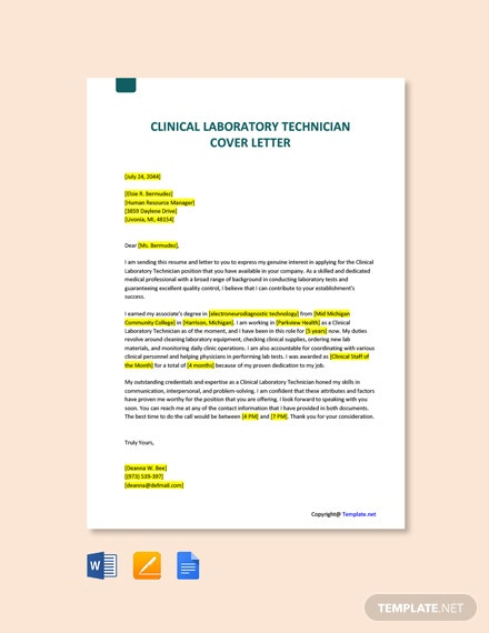 Free Clinical Laboratory Technician Cover Letter Template