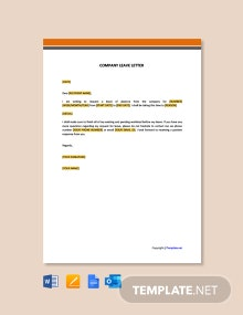 Free Company Leave Letter Template