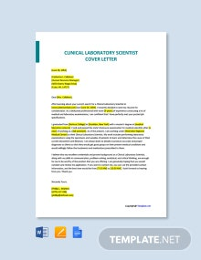 Free Clinical Laboratory Scientist Cover Letter Template