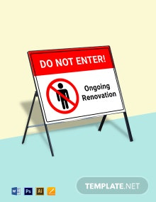 Caution - Renovation Work Do Not Enter Sign Template