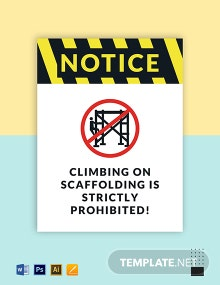 Danger - Do Not Climb on Scaffolding Sign Template