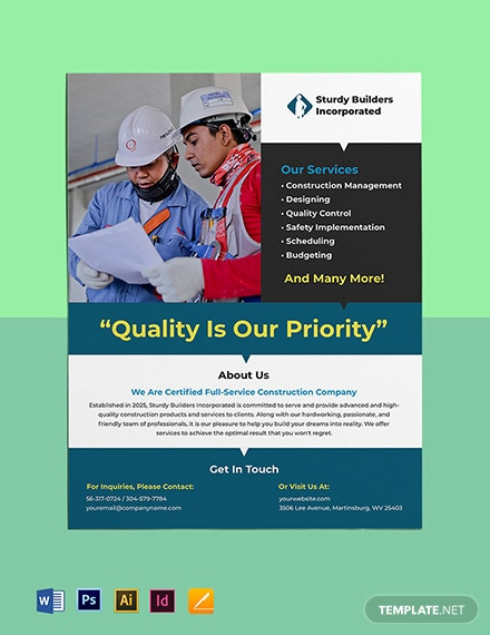 Free Sample Construction Leaflet Template