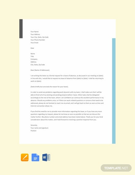 Free Formal Leave Letter Template