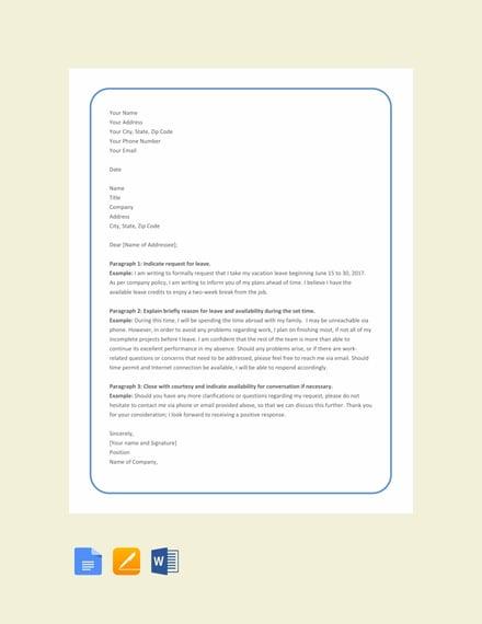 Free Leave Letter Format