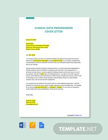 Free Clinical Data Programmer Cover Letter Template