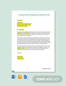 Free Clinical Data Specialist Cover Letter Template
