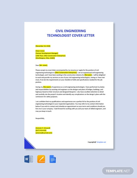 Free Civil Engineering Technologist Cover Letter Template