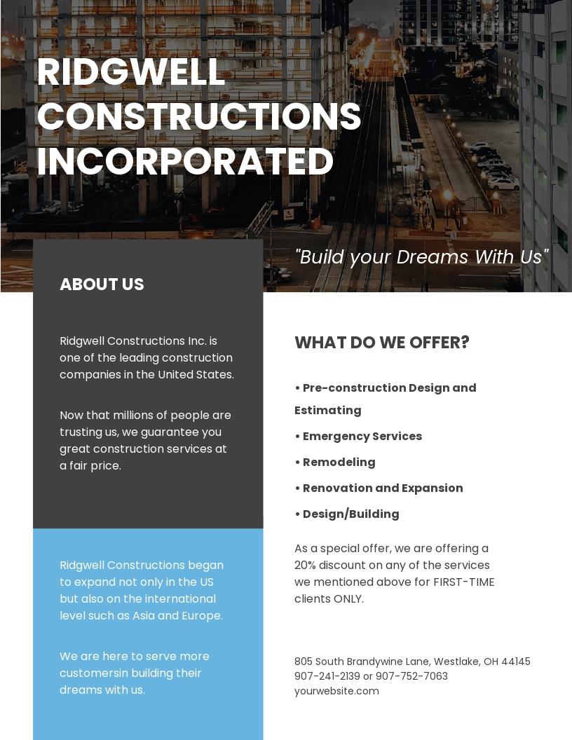 Modern Construction Leaflet Template