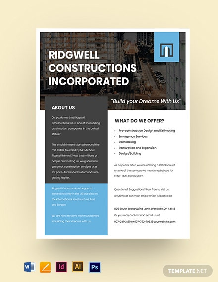 Free Modern Construction Leaflet Template
