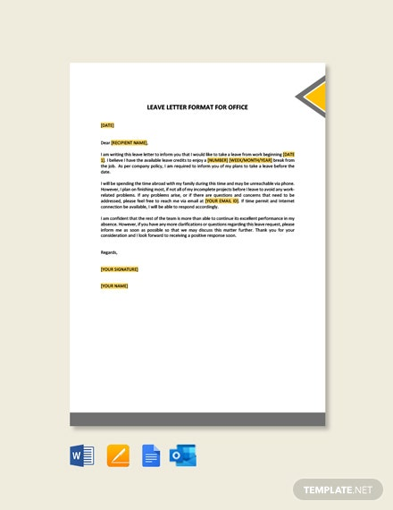 Leave Letter Format for Office