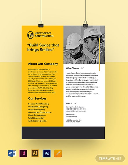 Construction Company Leaflet Template
