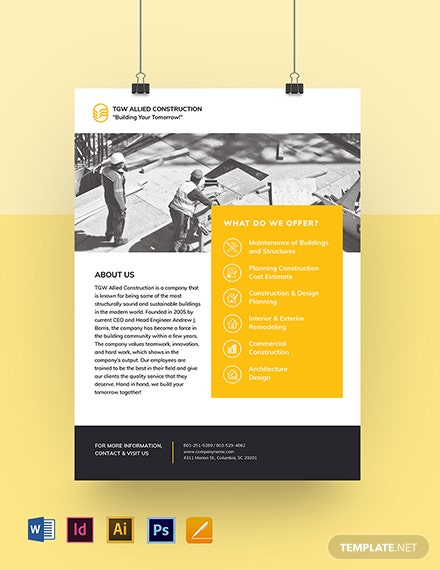Building Construction Leaflet Template