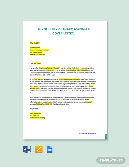 Free Engineering Program Manager Cover Letter Template