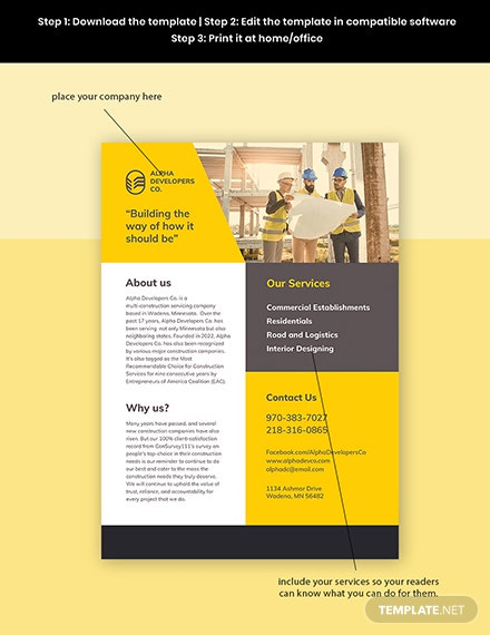 Construction Advertising Leaflet Template Format