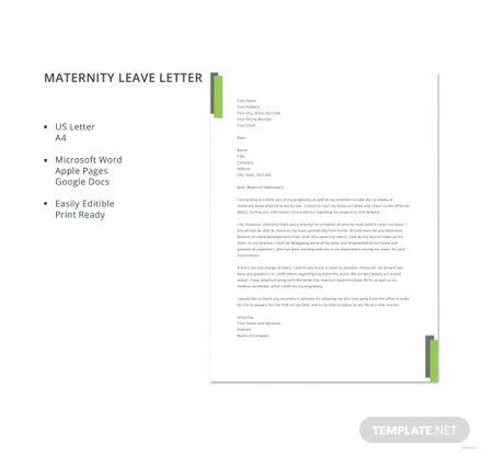 Maternity leave letter template free templates maternity leave letter template spiritdancerdesigns Gallery