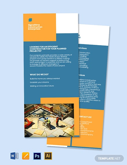 Construction Marketing Rack Card Template